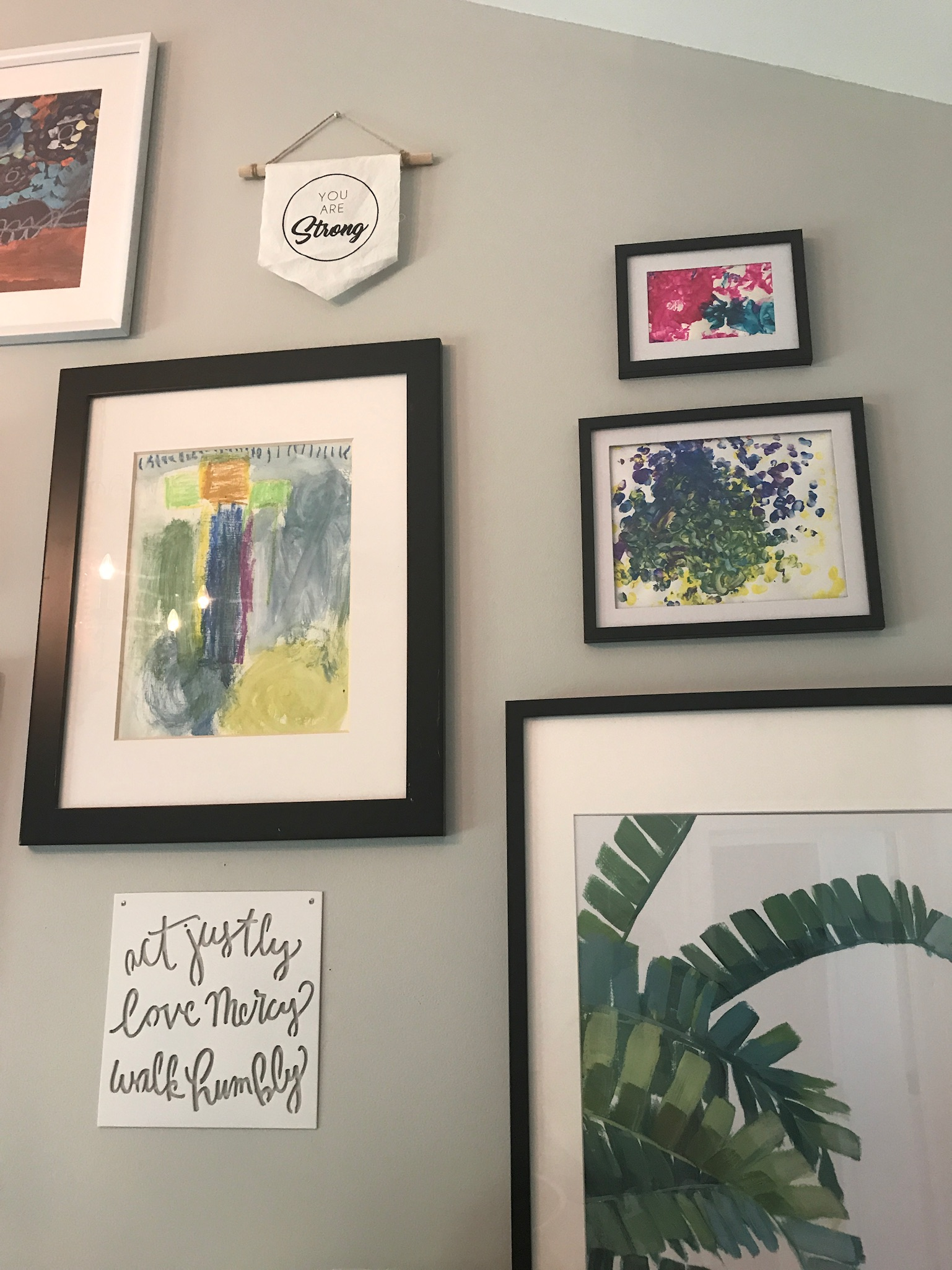 There Was No Real Rhyme Or Reason, But My Childrenu0027s School Artwork Served  As My Pops Of Color. Black Frames From IKEA, Target, And Even The Dollar  Store ...